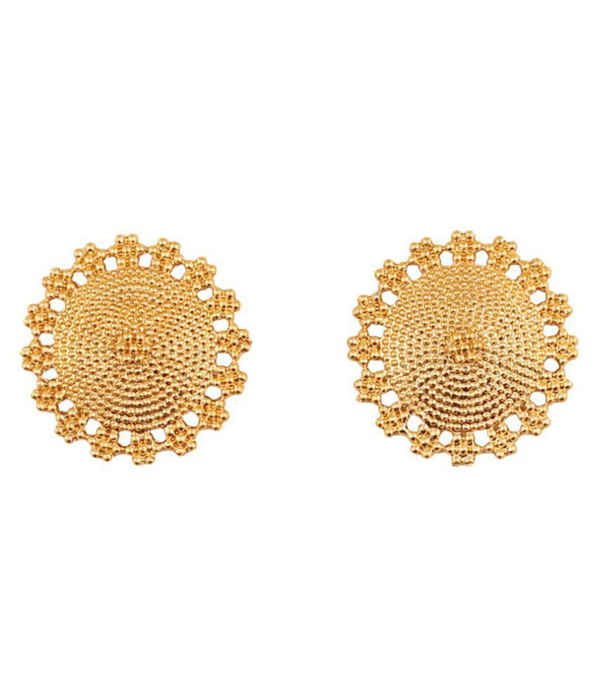 Touchstone Dramatic Mandala Round Earrings With An Intricate Pattern In Gold Tone For Women