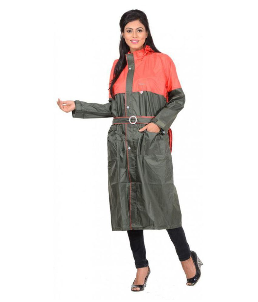 NiceG Nylon Long Raincoat - Green