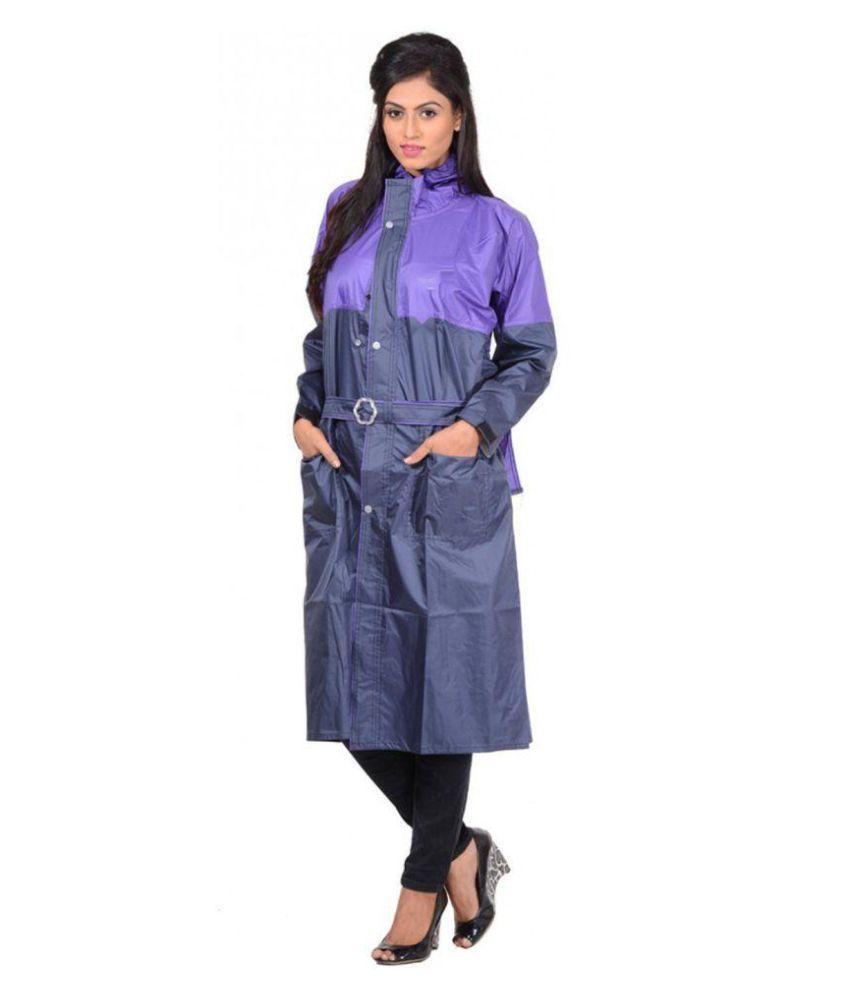 NiceG Polyester Long Raincoat - Navy