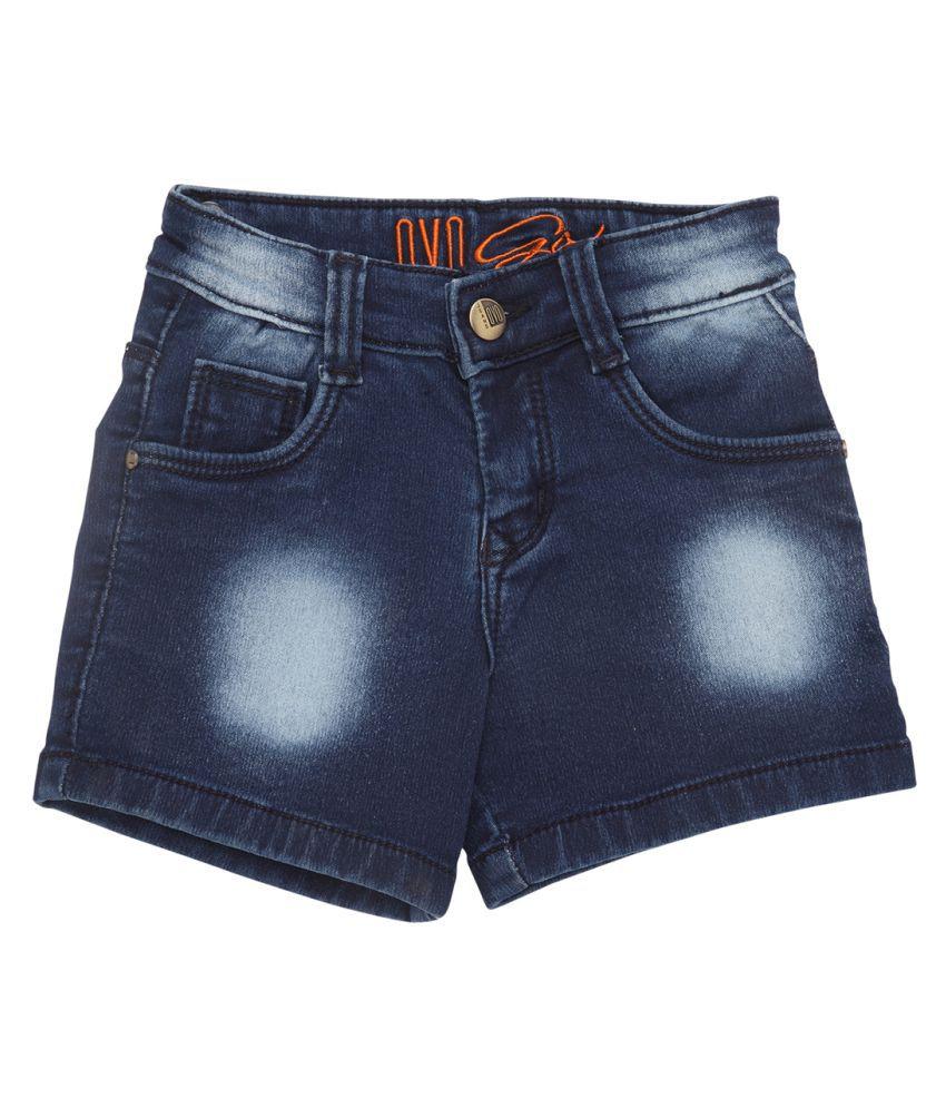 OVO Girls Regular Fit Blue Denim Shorts