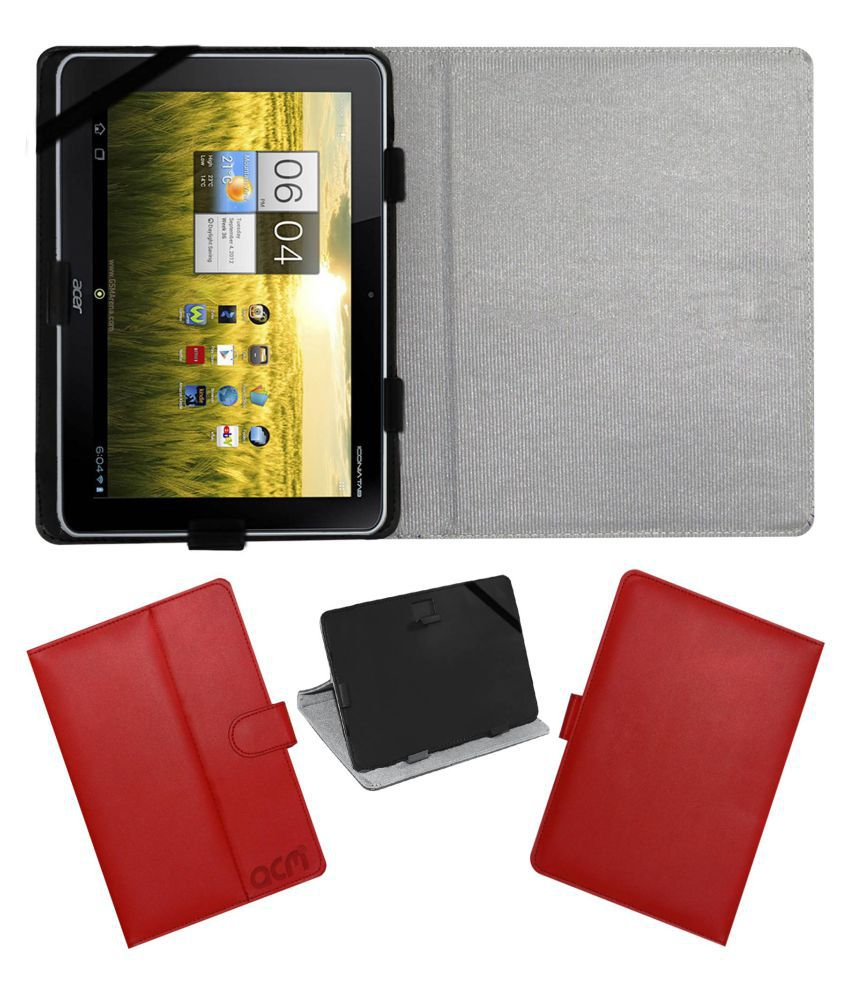 Acer Iconia A210 10g16u Flip Cover By ACM Red