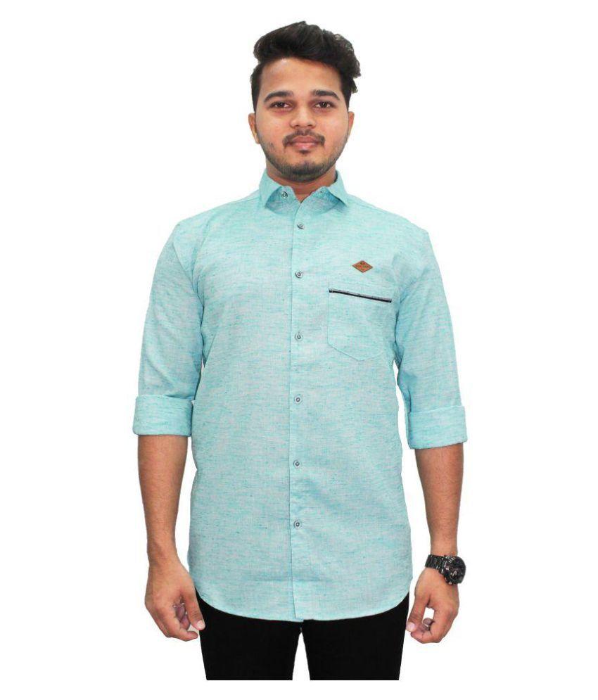 Kuons Avenue Green Slim Fit Shirt