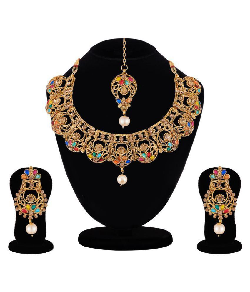 Apara Elegant Navratna Necklace MaangTikka For Women