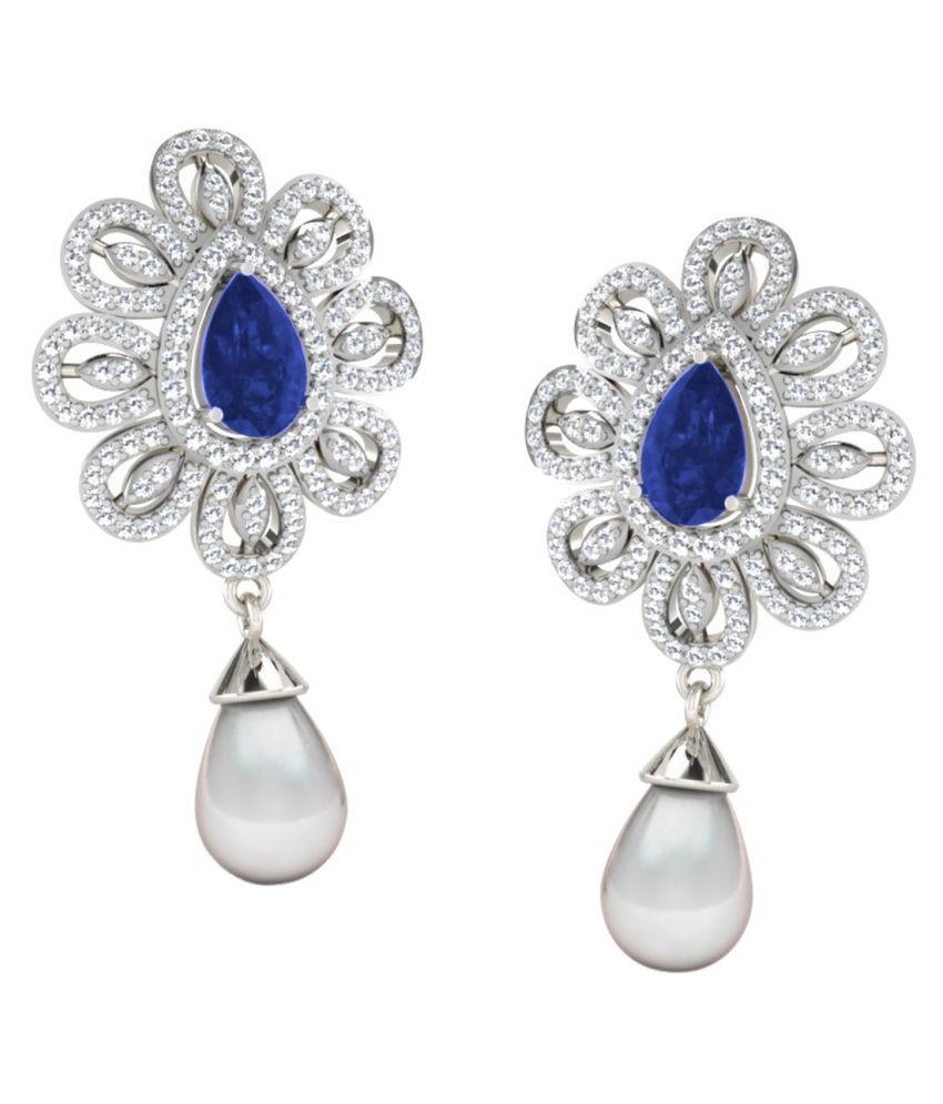 His & Her 18k BIS Hallmarked White Gold Sapphire Hangings