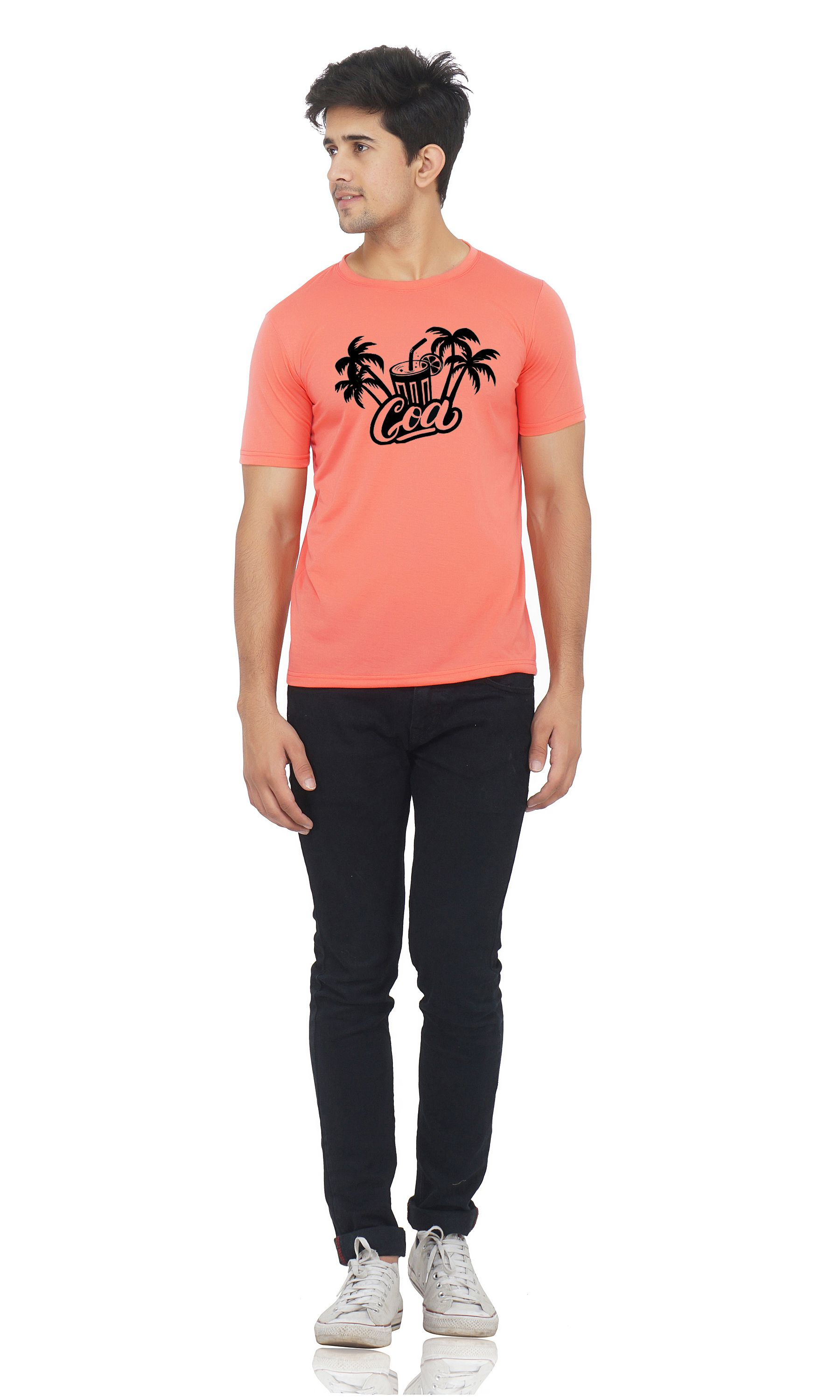 M R MARC ROSE Peach Round T-Shirt Pack of 1