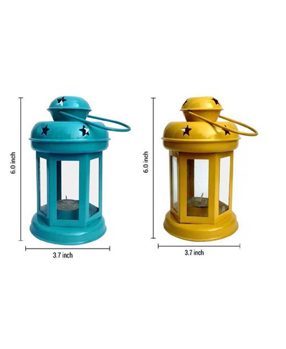 DECORATE INDIA Sky and Yellow color iron lantern t light candle holder set Hanging Lanterns 15   Pack of 1
