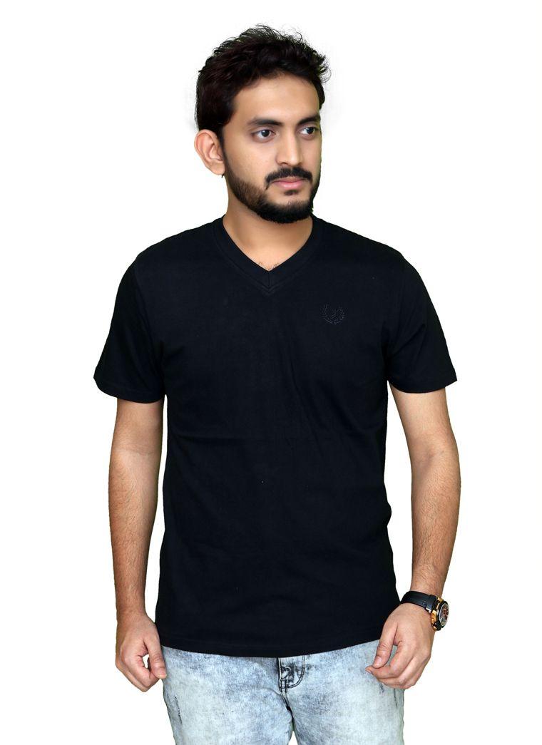 PLANET 69 Black V-Neck T-Shirt