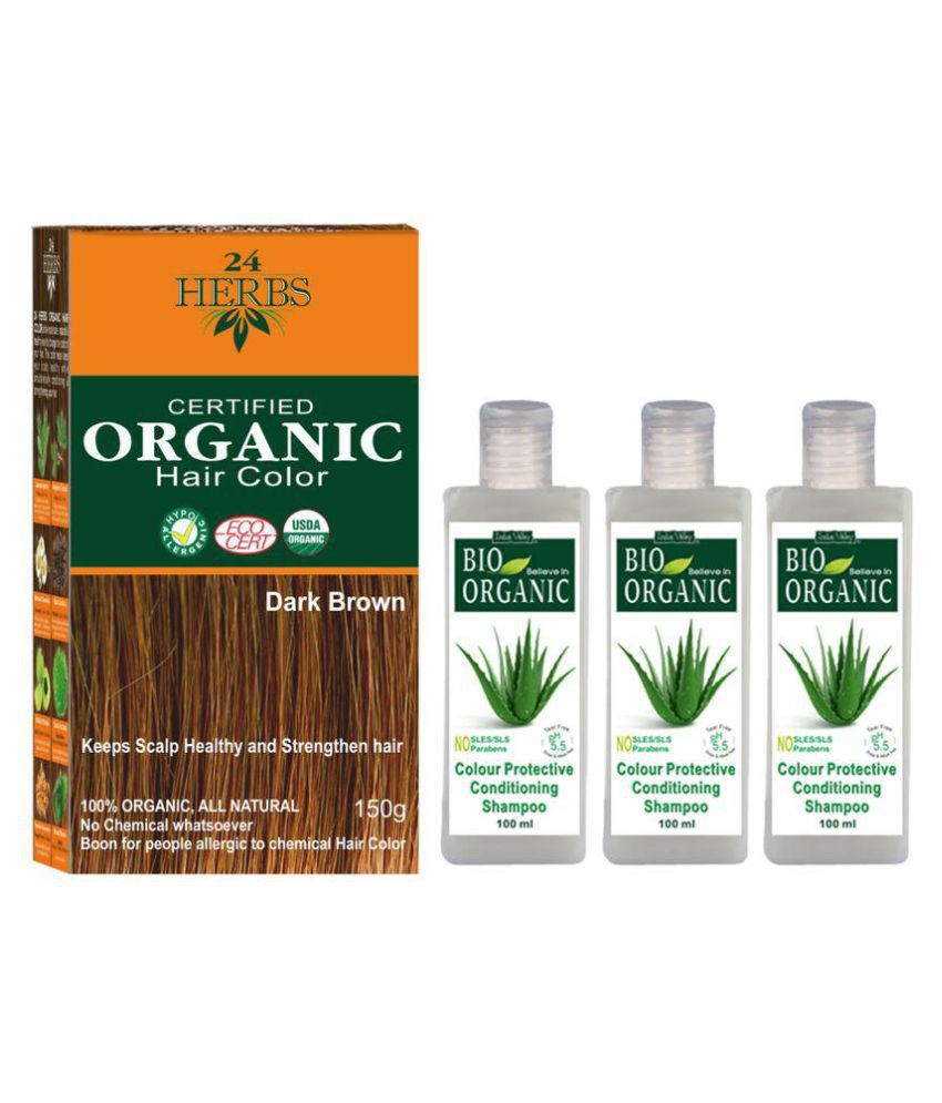 Indus Valley Organic 24 Herbs Dark Brown with 3 Colour Protective Shampoo Semi Permanent Hair Color Dark Brown 500 gm Pack of 4