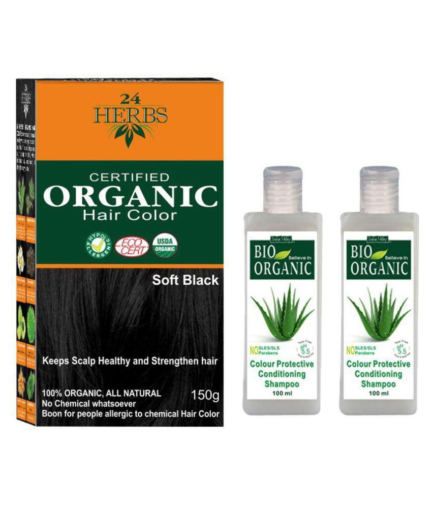 Indus Valley Organic 24 Herbs Soft Black with Colour Protective Shampoo Semi Permanent Hair Color Black 400 gm Pack of 3