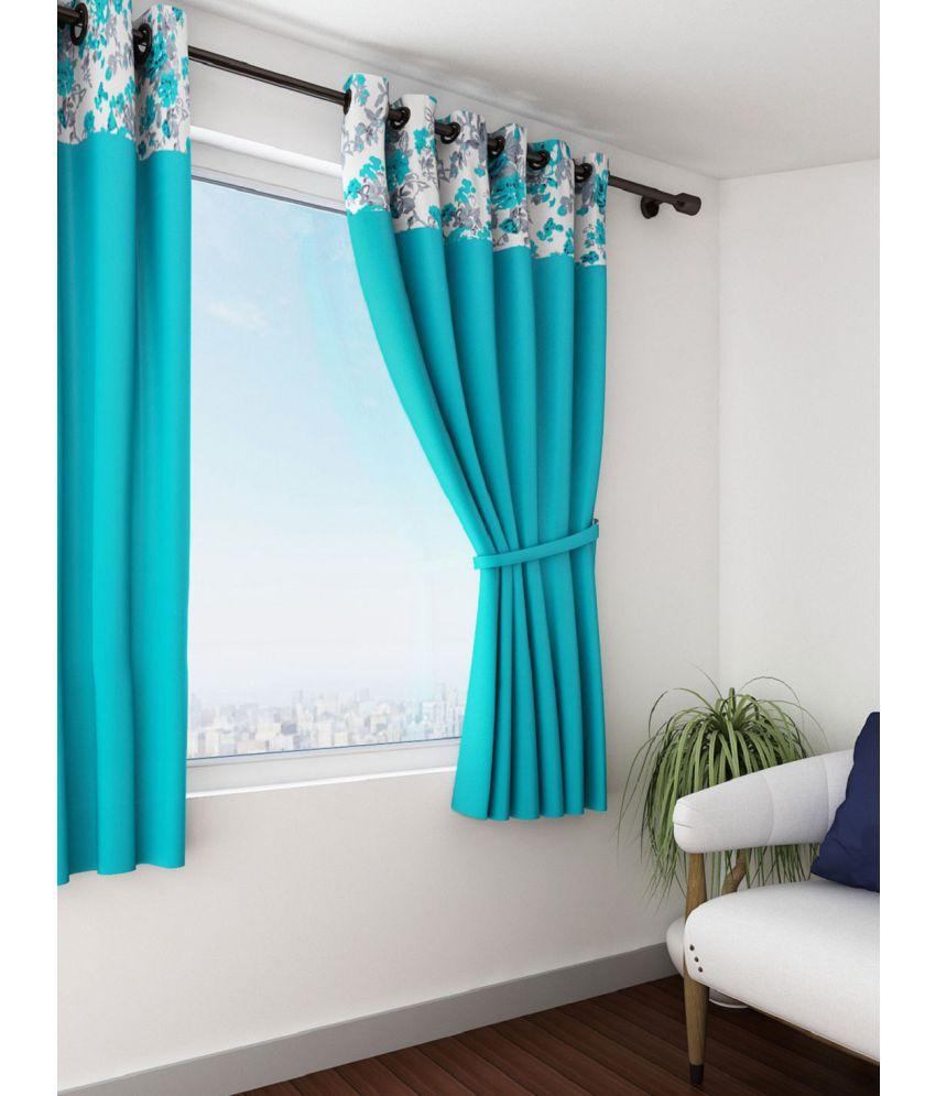 Swayam Single Window Eyelet Curtains Solid Turquoise