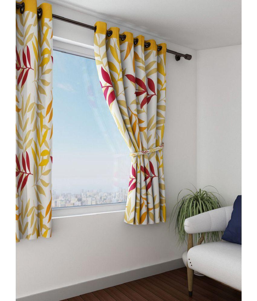 Swayam Single Window Eyelet Curtains Floral Yellow
