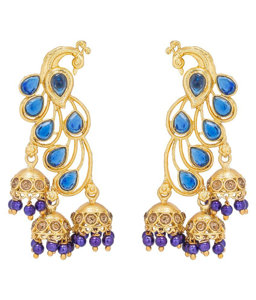 The Luxor Dancing Peacock Gold Plated Dangle and Drop Earrings for Women and Girls