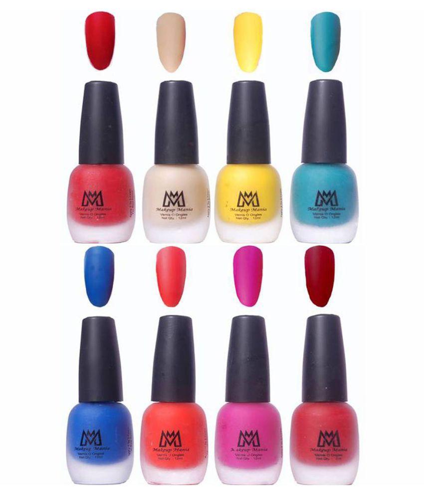 Makeup Mania Premium Set of 8 Trendy Nail Polish Red, Nude, Blue ...
