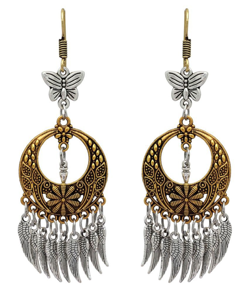 Festive Special Gold & Silver Color Oxidised Earrings