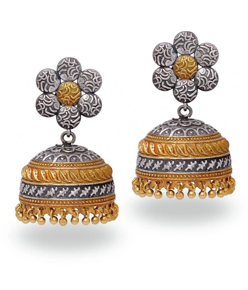 Handmade Traditional Dual Tone Gold-Silver Oxidised Jhumka Earrings