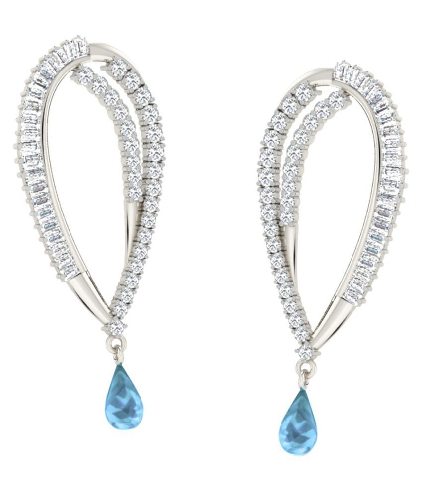 His & Her 18k BIS Hallmarked White Gold Topaz Drop Earrings