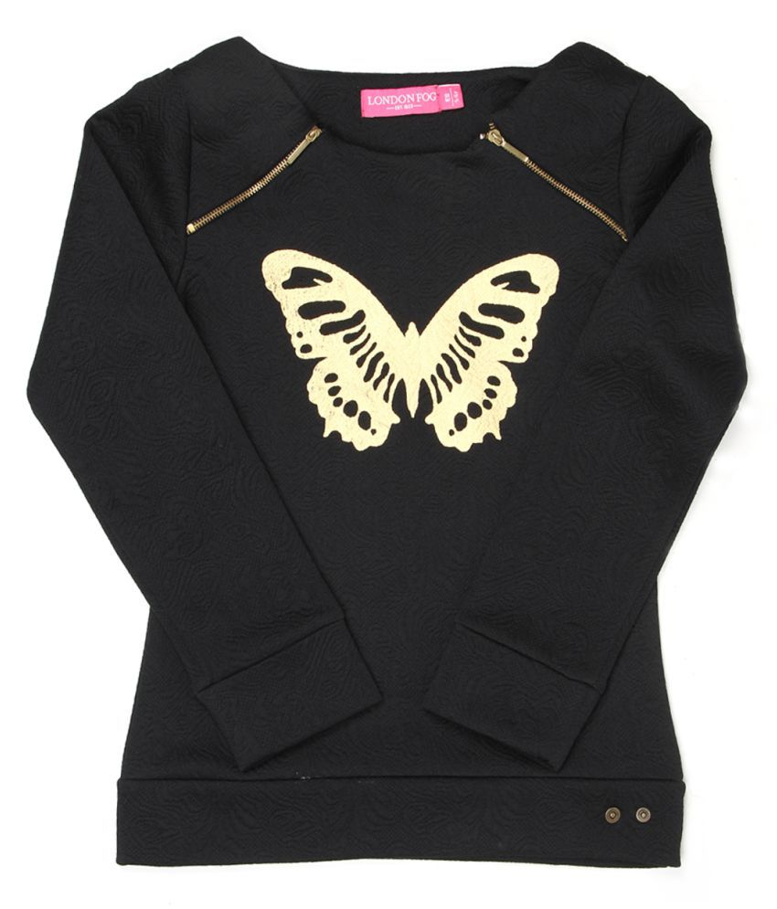 London Fog Girls Black Full Sleeve Sweat Shirt