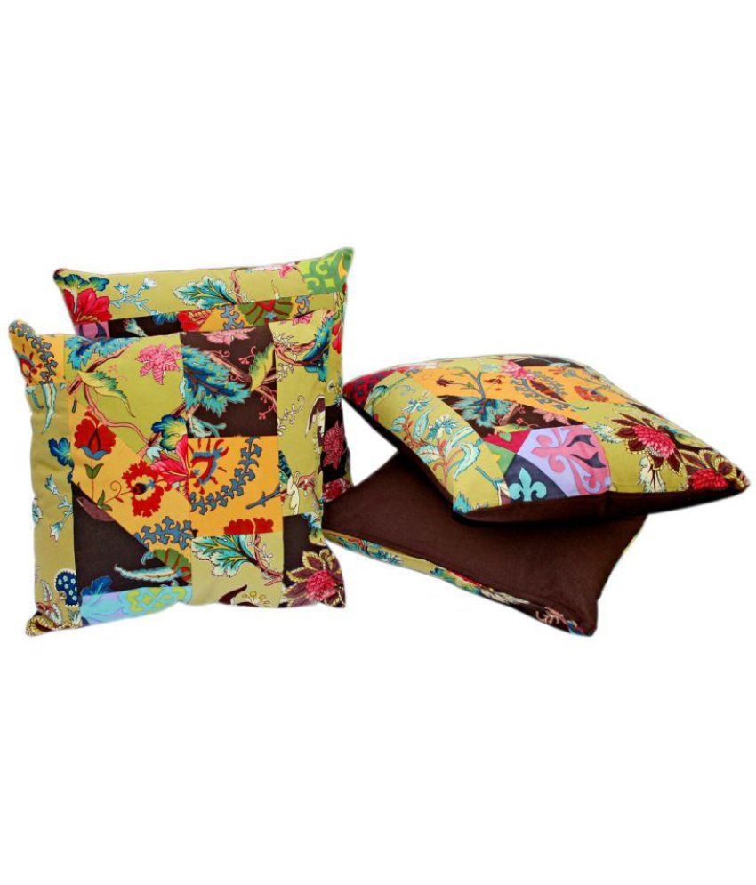 Sriam Set of 4 Cotton Cushion Covers 40X40 cm (16X16)