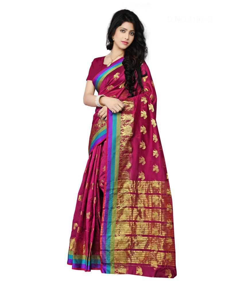 Urban India Magenta Cotton Silk Saree