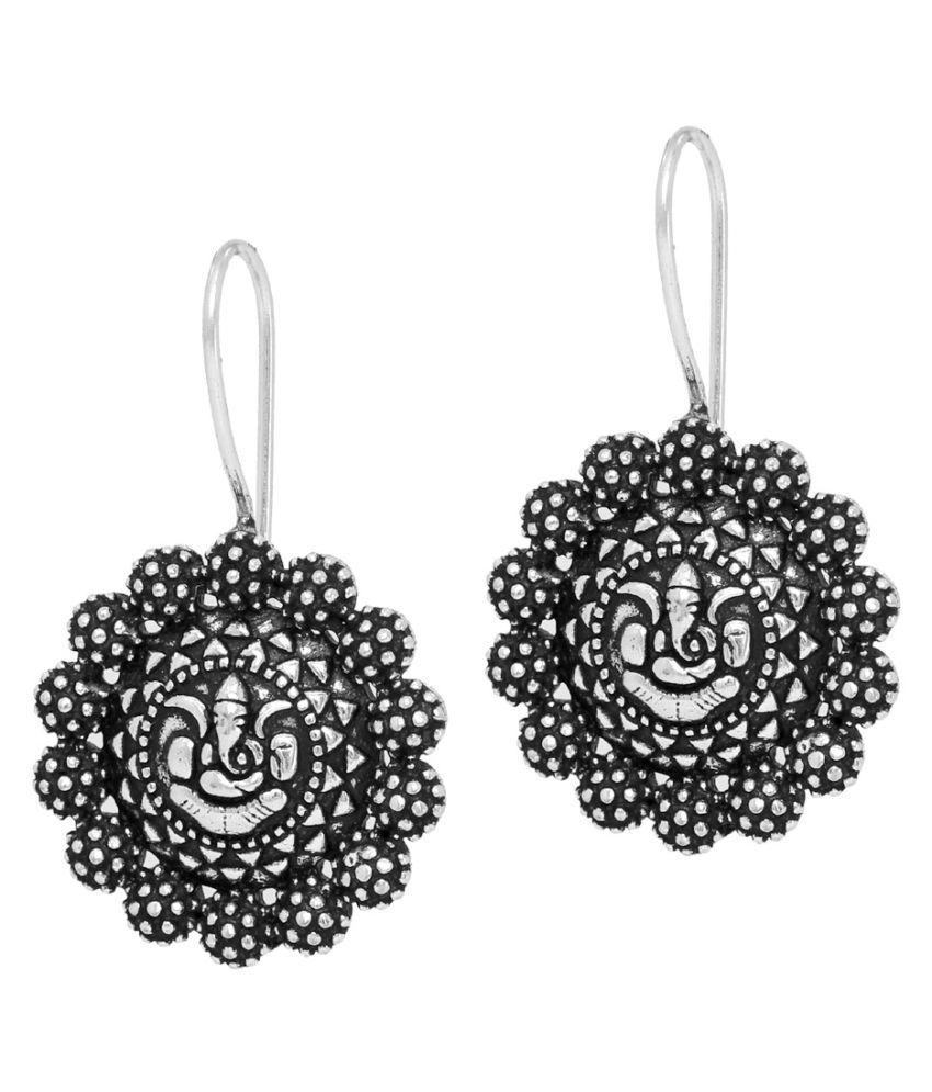 Wedding Ethnic German Silver Oxidised Earrings