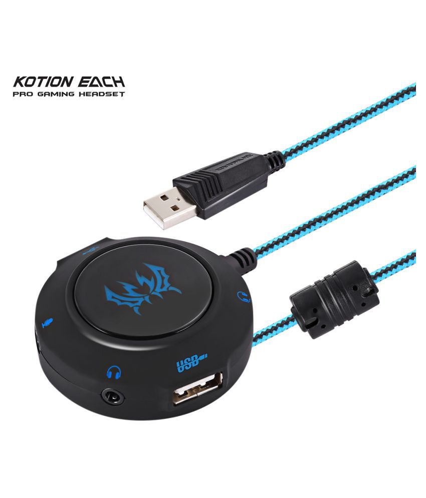 Wowobjects Kotion Each S2 Blue External Usb Sound Card Plug And Play Stereo Headset Adapter For Pc Laptops Ps4