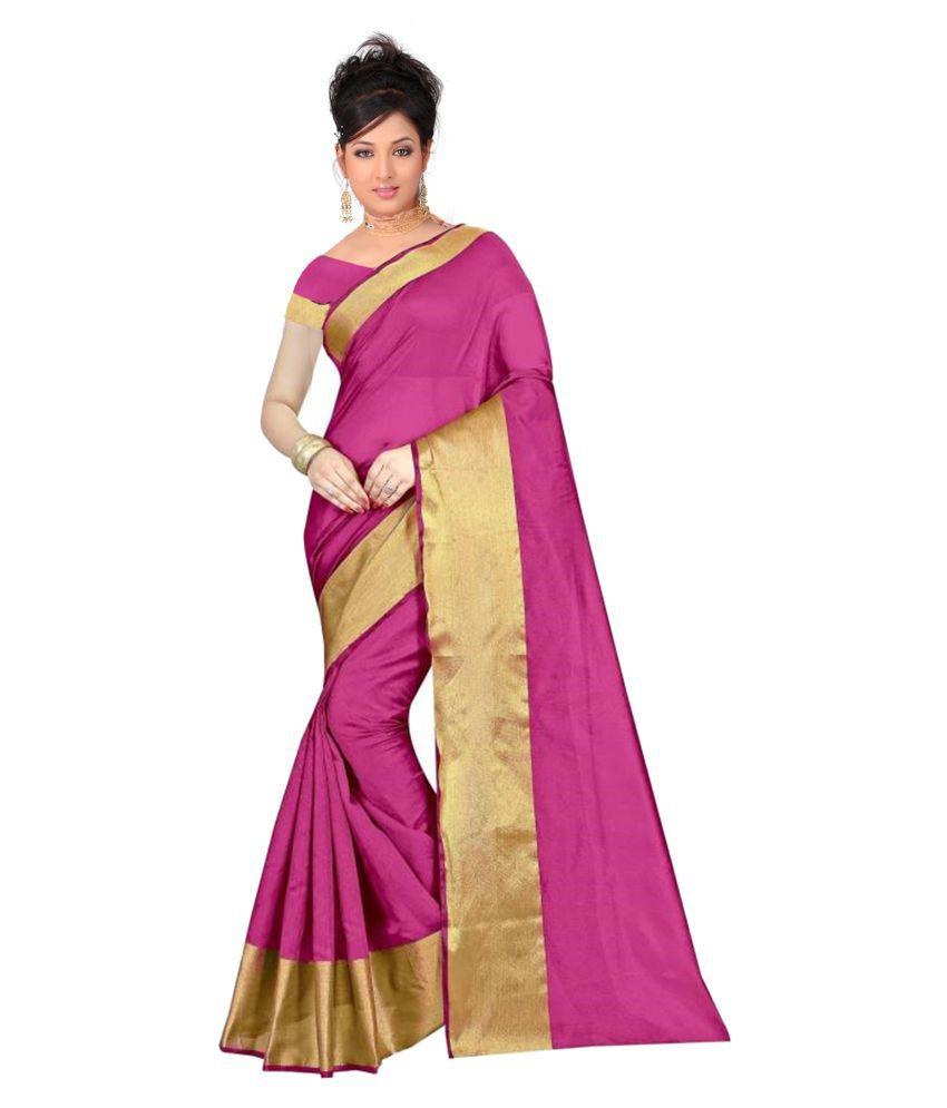 8326c1fe67ba9a ... Macro Yashraj Export Women's Blended Cotton Silk, Rani and golden colour,  Floral Printed, ...