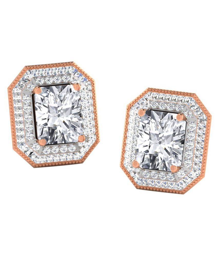 His & Her 18k BIS Hallmarked Rose Gold Sapphire Hangings