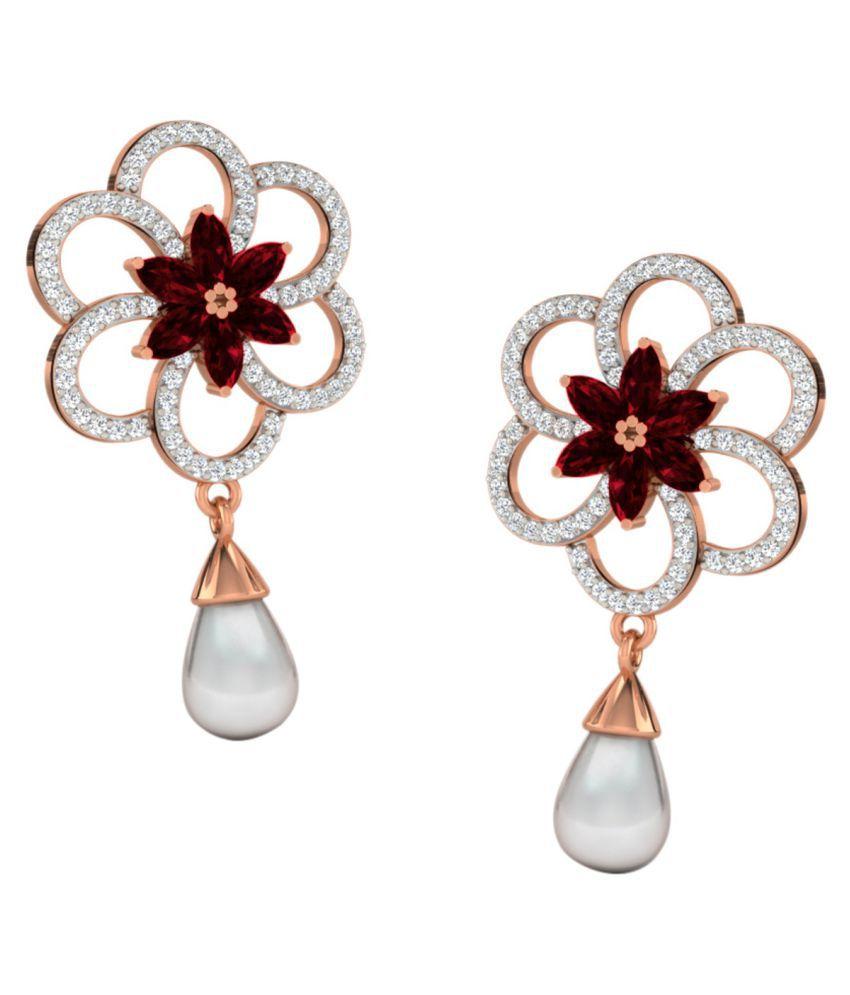 His & Her 18k BIS Hallmarked Rose Gold Garnet Drop Earrings