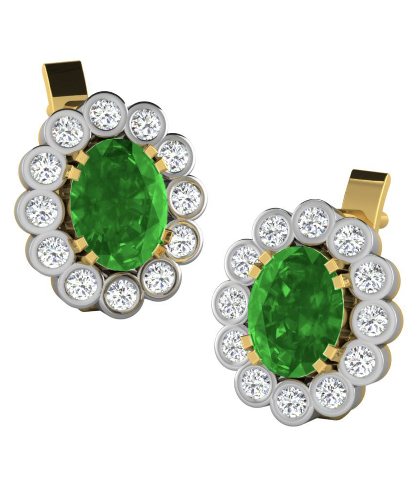His & Her 18k BIS Hallmarked Yellow Gold Emerald Studs