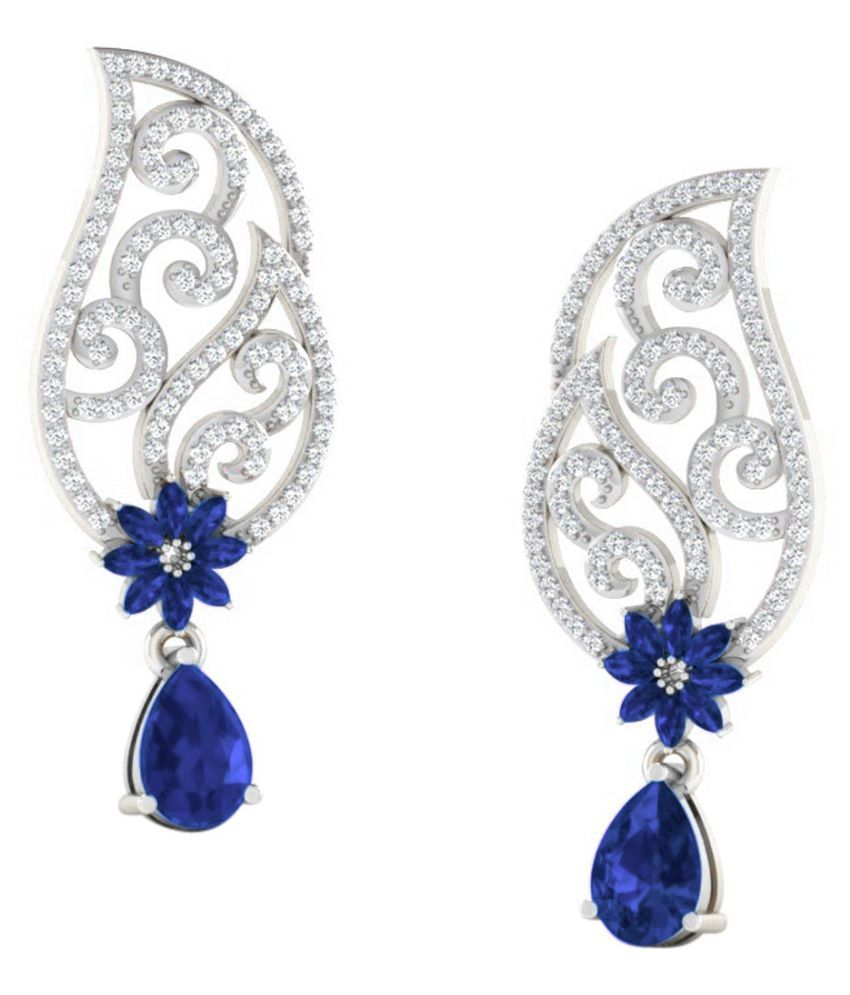 His & Her 18k BIS Hallmarked White Gold Sapphire Drop Earrings