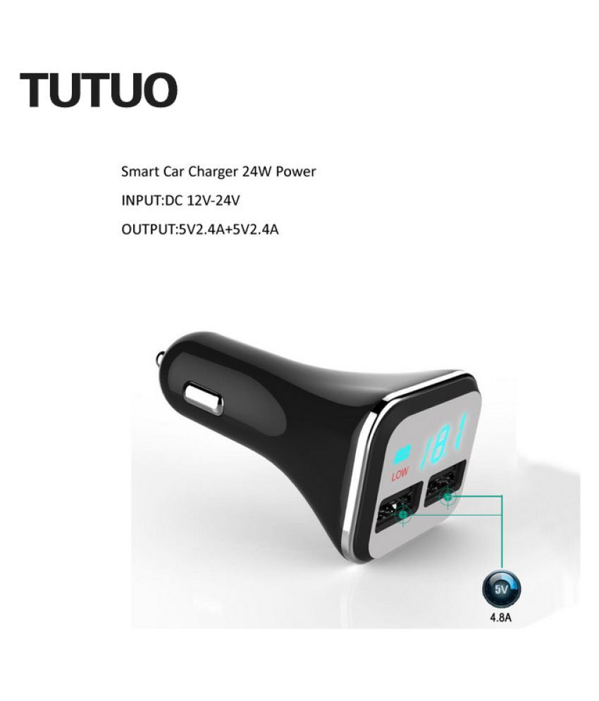 Wowobjects R50s Fast Usb Car Charger With Led Screen 2-port Car-charger Fireproof Abs For Iphone 7 Samsung Galaxy S7 Mi3 Zu