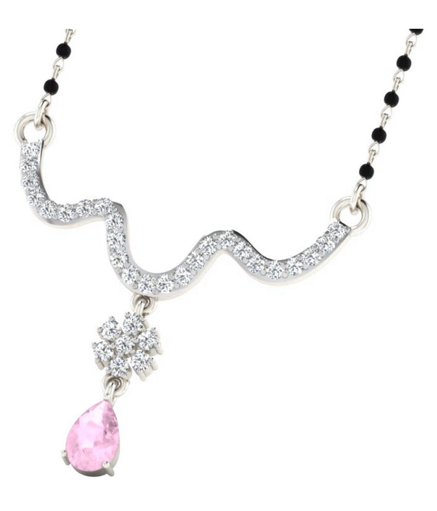 His & Her 18k White Gold Sapphire Mangalsutra