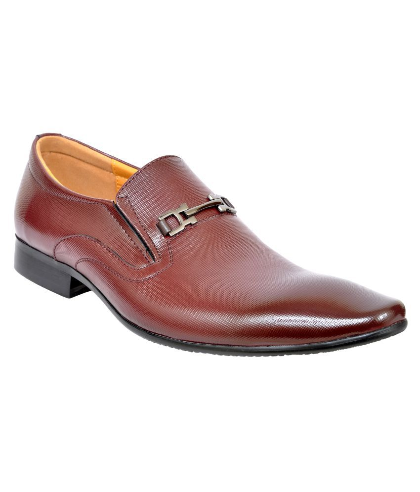 Zemini Party Genuine Leather Maroon Formal Shoes