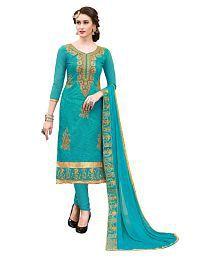 Blissta Turquoise Chanderi Dress Material