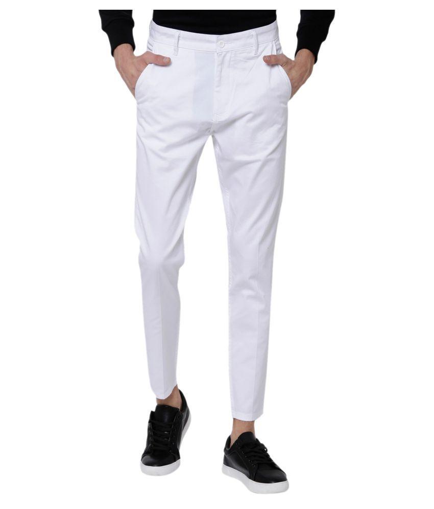 Halogen White Skinny -Fit Flat Chinos