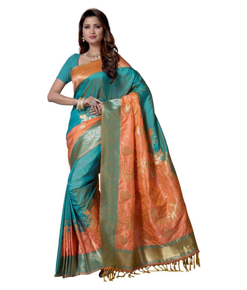 Rani Saahiba Turquoise Art Silk Saree