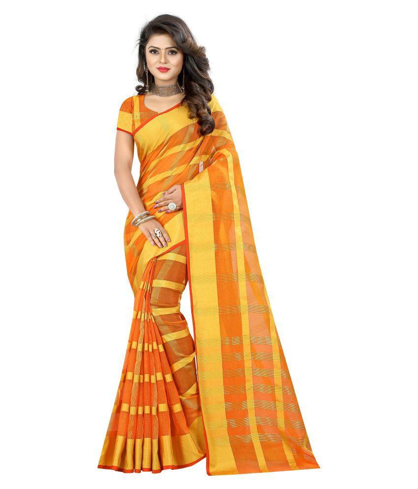 Wedding Villa Yellow and Orange Cotton Saree