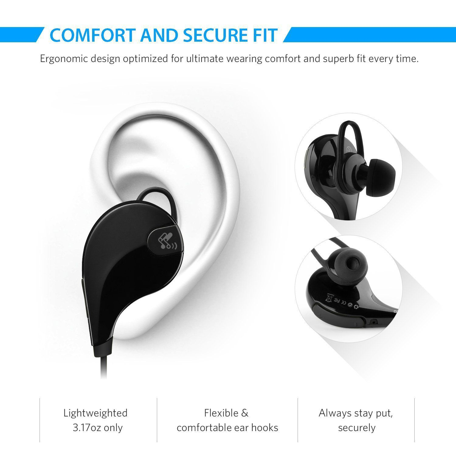 TSV 007 Sports Jogger For Oppo A83 Bluetooth Headset Black
