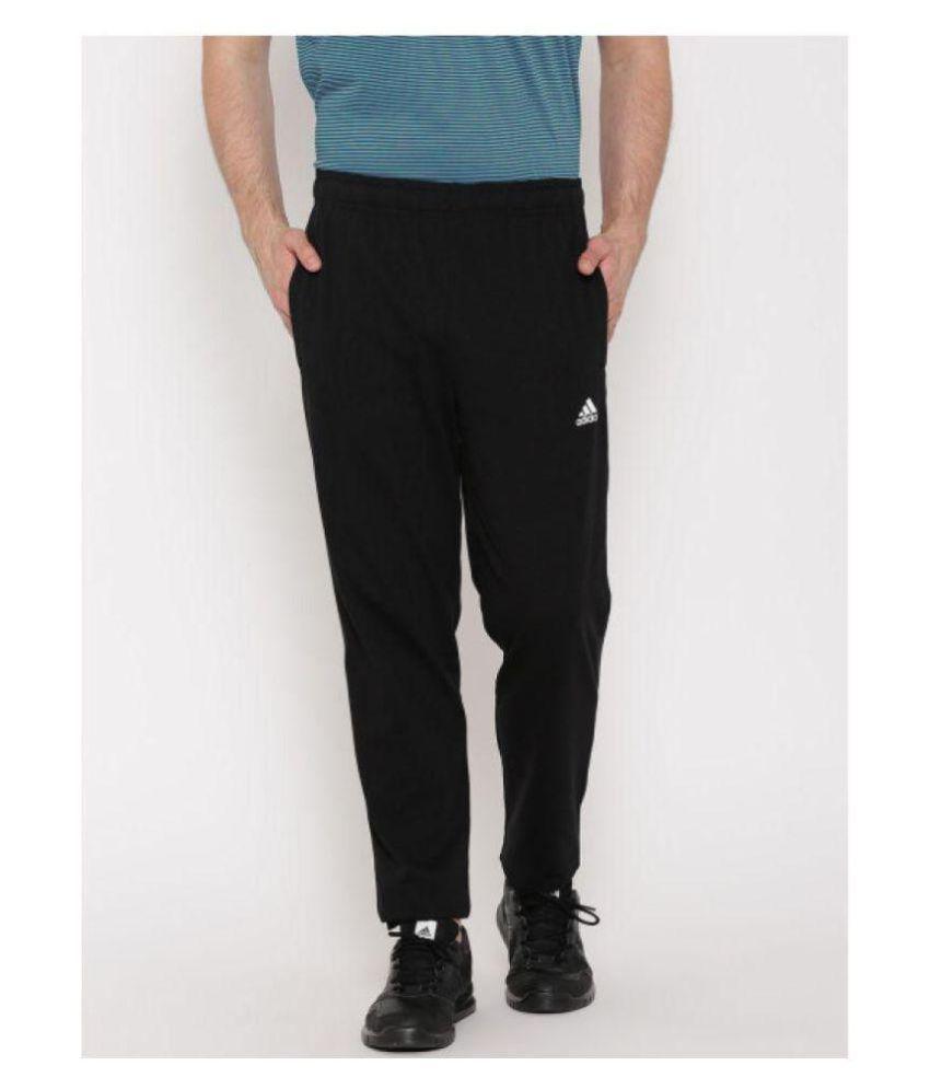 Adidas Blue/Black Polyester Lycra Sports Trackpant