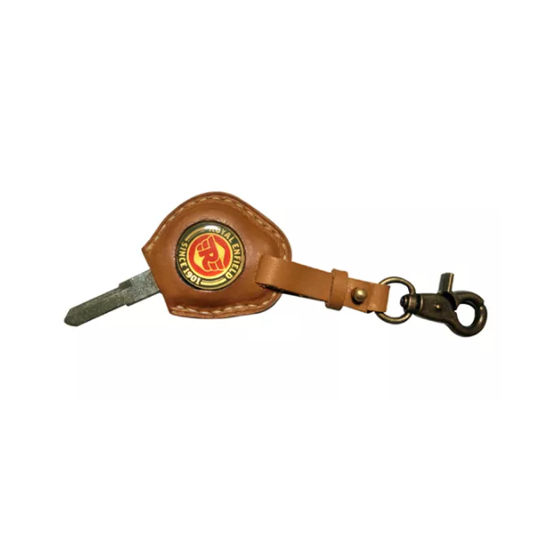 Speedy Riders R/H Cut Blank Key With Leather Cover Tan Color Keychain For  Royal Enfield