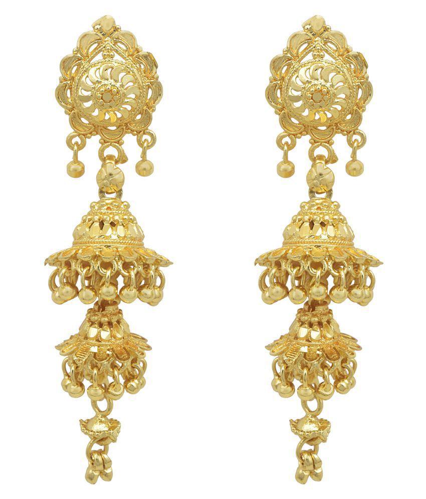 DzineTrendz Brass 24KT gold plated 2 umbrella, designer Traditional Kjumki earfinger rings Women Girls