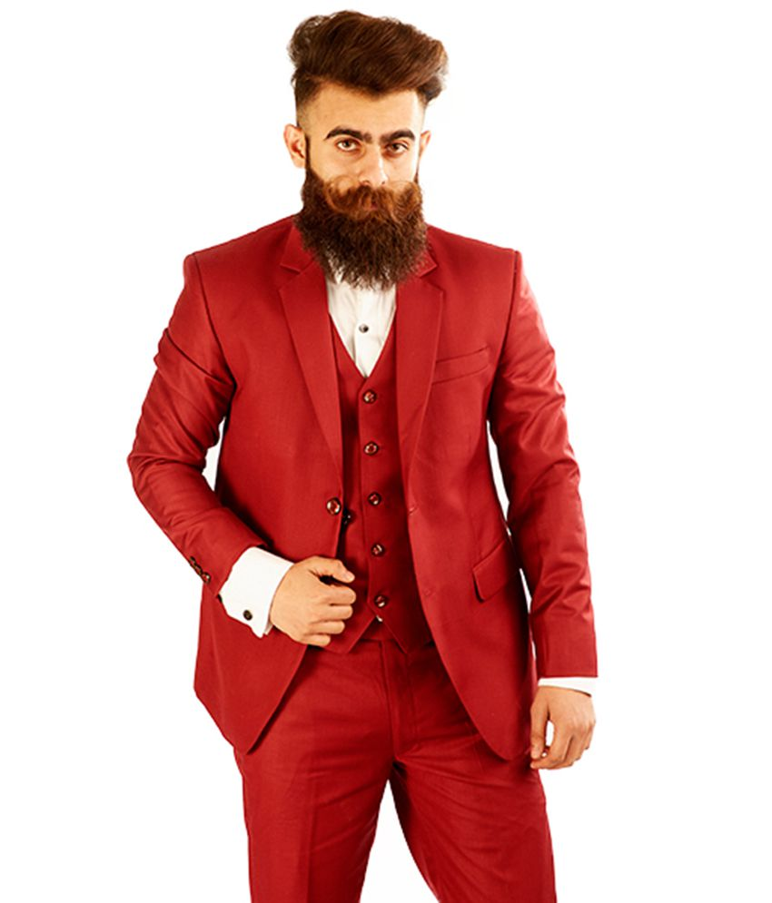 Rellin Red Plain Wedding 3 Piece Suits