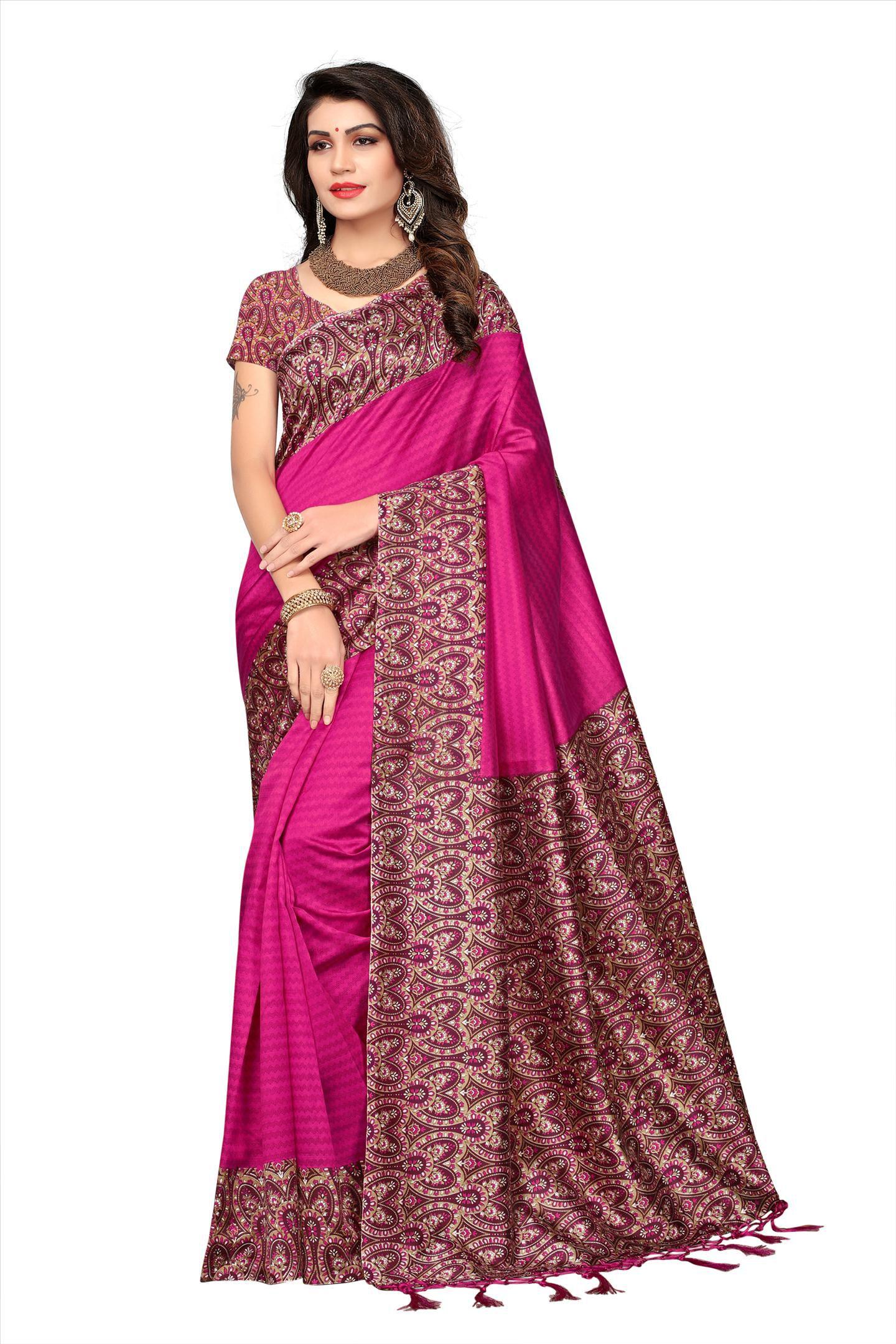 Winza Designer Pink Art Silk Saree