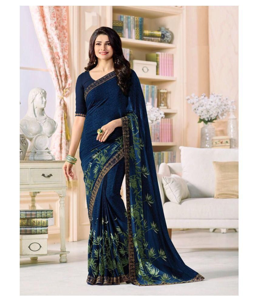 Gazal Fashions Blue Chiffon Saree