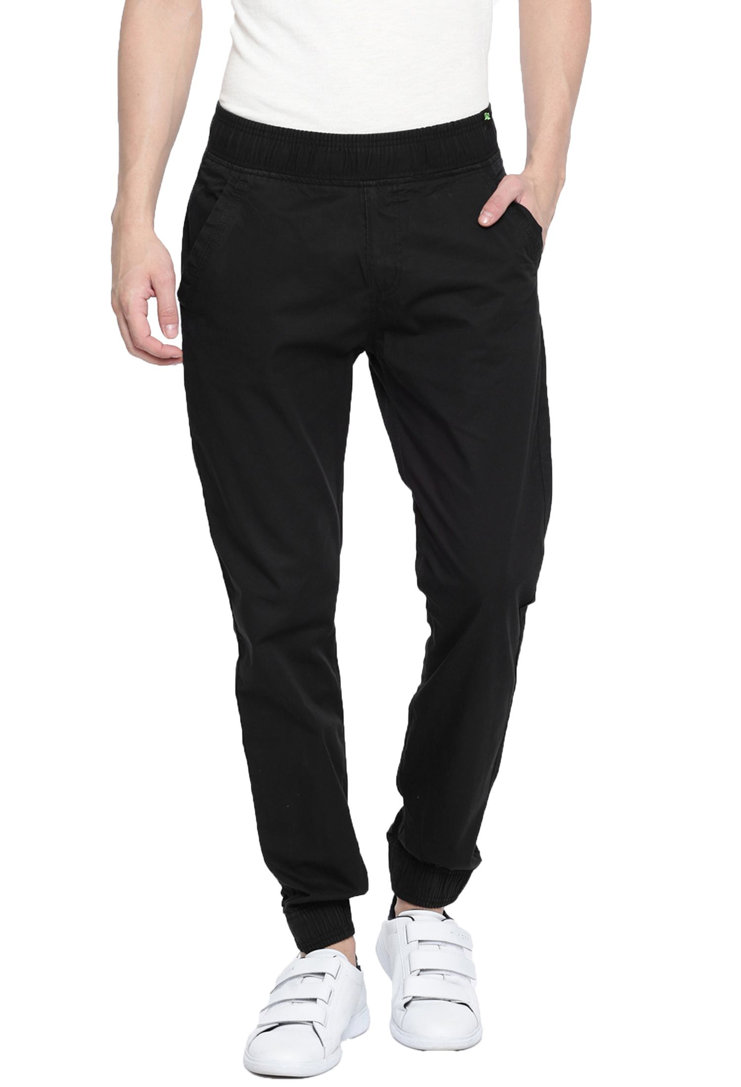 FIFTY TWO Black Slim -Fit Flat Joggers