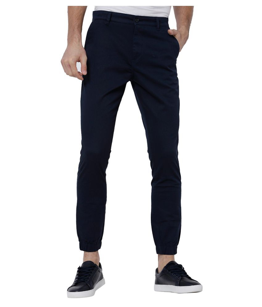 Highlander Navy Blue Slim -Fit Flat Joggers
