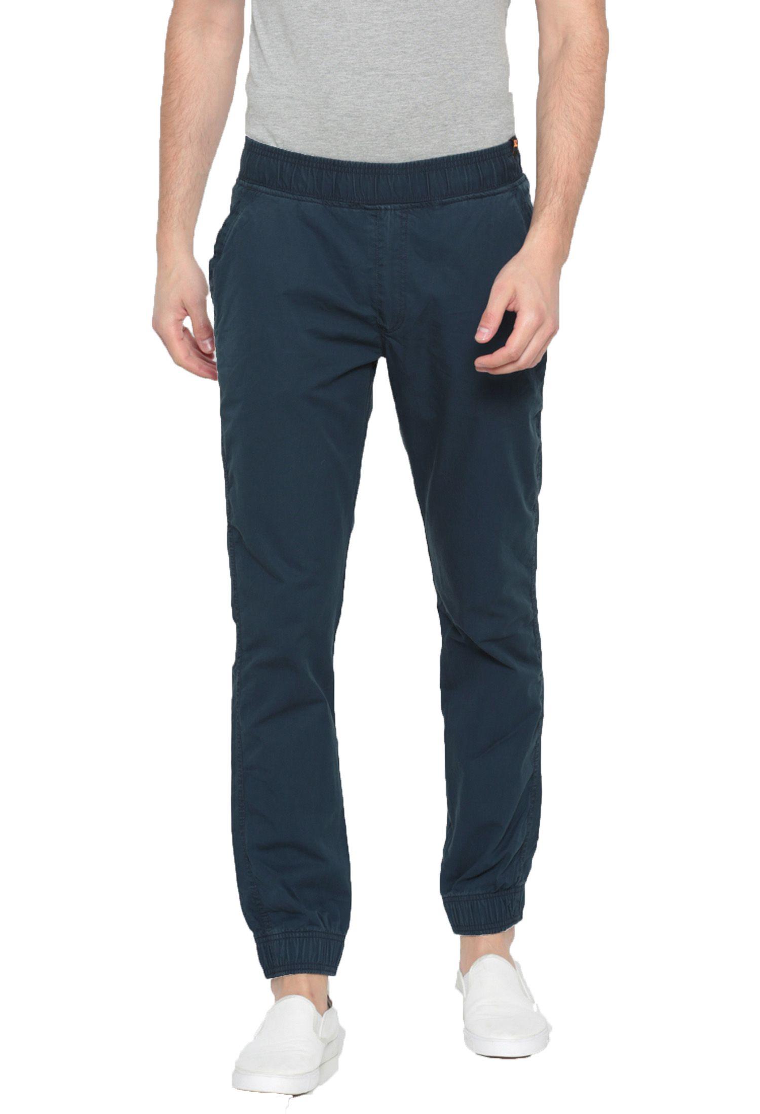 Sports 52 Wear Navy Blue Slim -Fit Flat Joggers
