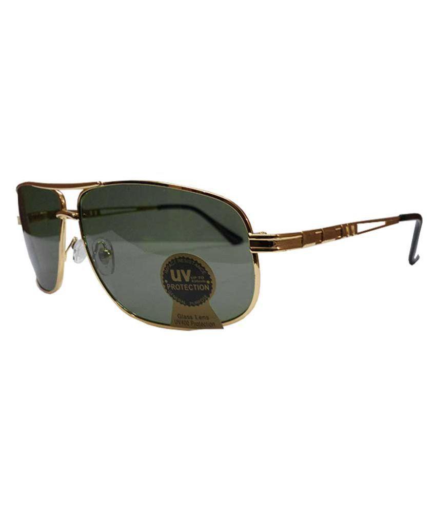 TBZ Golden Aviator Sunglasses ( SUNGLS-UV-BLK-GLD_Ba1 )