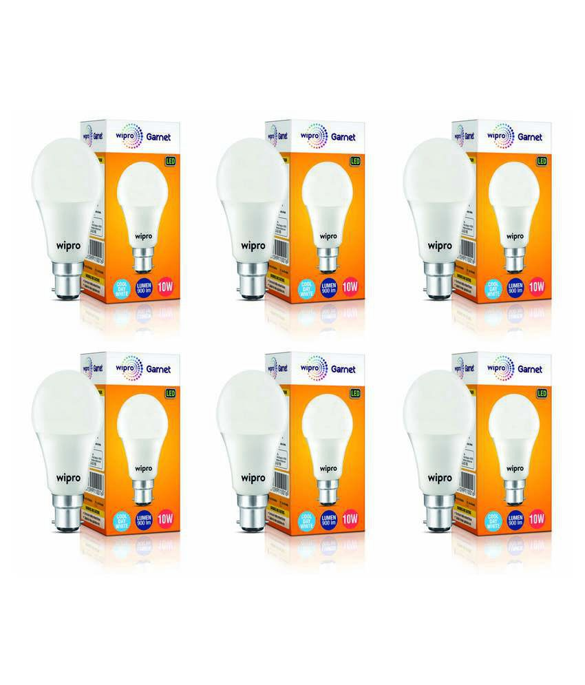 Wipro 10W LED Bulbs Cool Day Light - Pack of 6