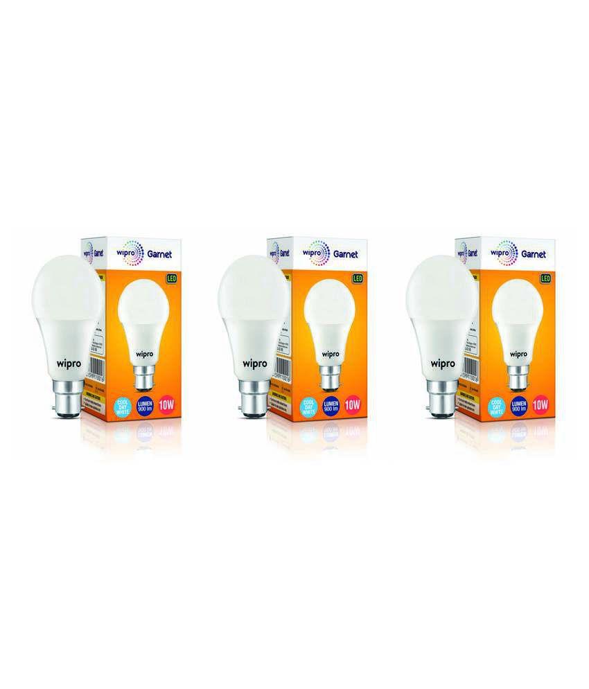 Wipro 10W (Pack of 3) Led Bulb 6500K Cool Day Light)